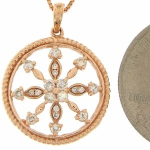 Solid 14K Rose Gold Diamond Circle Pendant